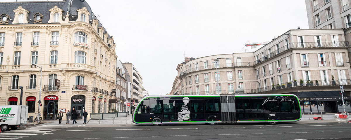 New zero emission electric buses, Irizar ie tram model, have started operating in the city of Amiens (France)