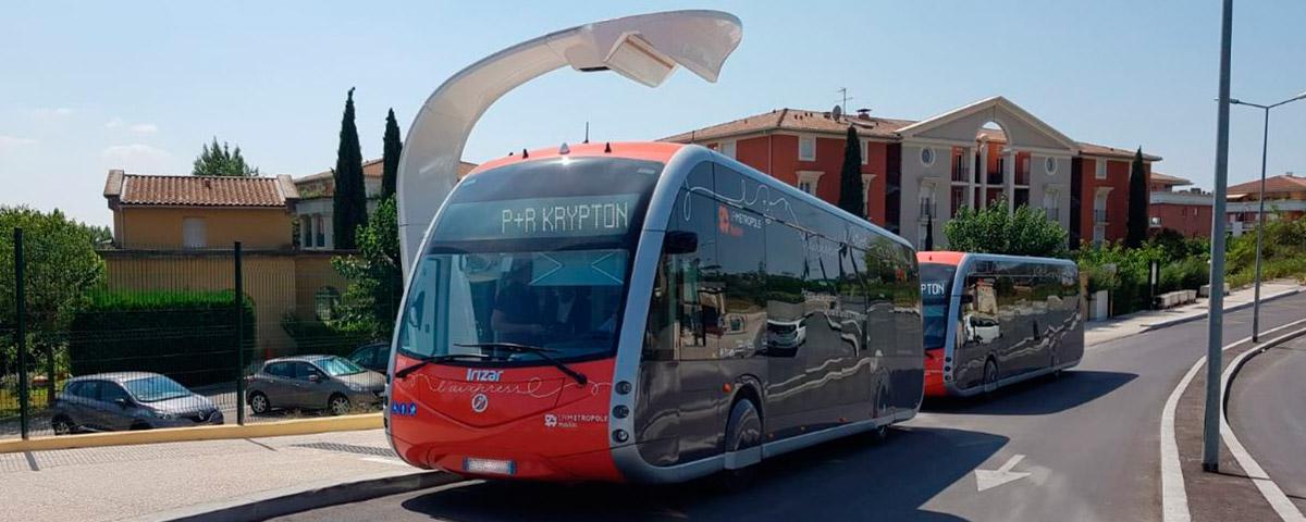 Hoy se han puesto en operación los nuevos autobuses eléctricos cero emisiones, del modelo Irizar ie tram de 12 metros de longitud, en Aix-en-Provence (Francia)